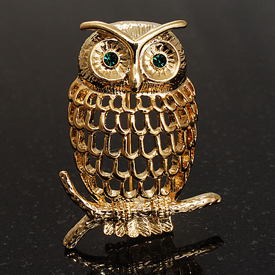 Gold-Tone Wise Filigree Owl Brooch