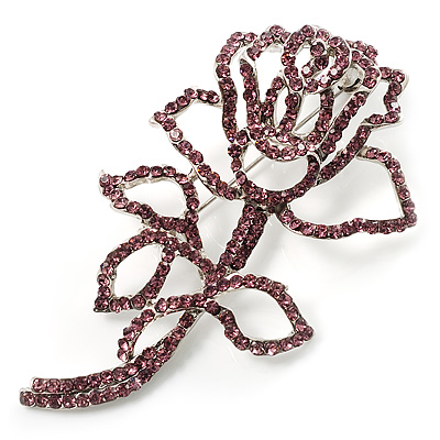 Luxurious Large Swarovski Crystal Rose Brooch (Silver&Pink)
