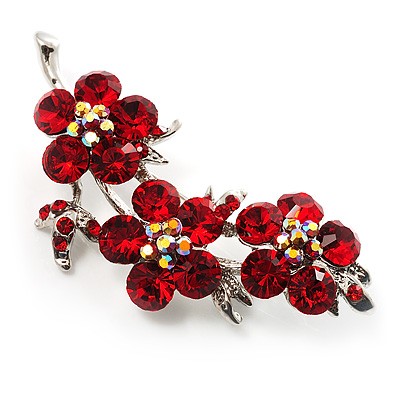 Crystal Floral Brooch (Silver& Bright Red)