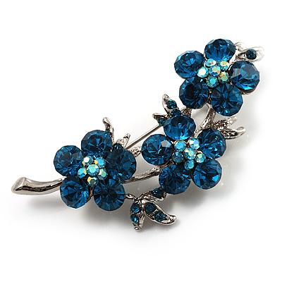 Swarovski Crystal Floral Brooch (Silver&Azure)