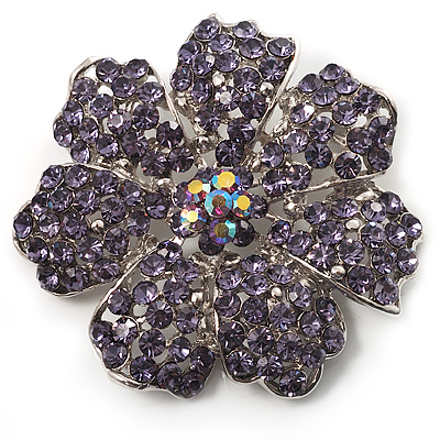 Purple Crystal Corsage Flower Brooch (Silver Tone) - main view