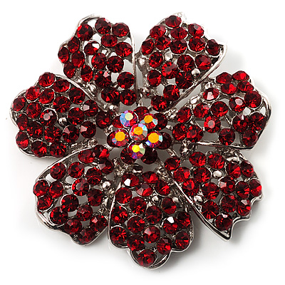 Hot Red Crystal Corsage Flower Brooch (Silver Tone) - main view