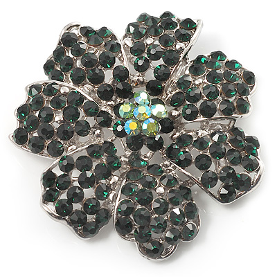 Emerald Green Crystal Corsage Flower Brooch (Silver Tone) - main view
