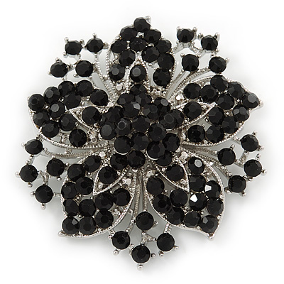 Victorian Corsage Flower Brooch (Silver&Jet Black) - main view