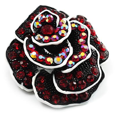 Romantic Vintage Dimensional Crystal Rose Brooch (Black&Red) - main view
