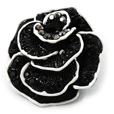 Romantic Vintage Dimensional Crystal Rose Brooch (Jet Black&White) - main view
