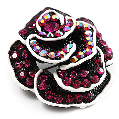 Romantic Vintage Dimensional Crystal Rose Brooch (Black&Fuchsia ) - main view