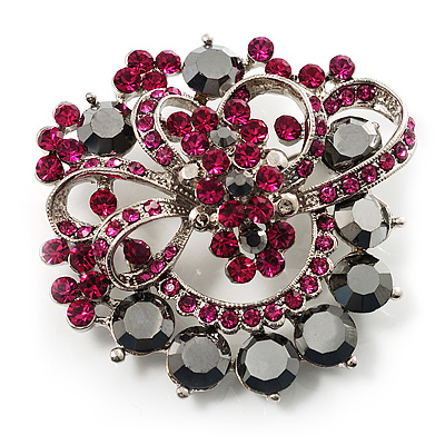 Jet-Black & Magenta Diamante Corsage Brooch (Silver Tone) - main view