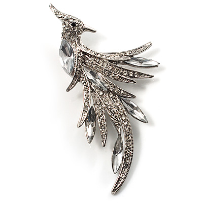 Sparkling Crystal Fire-Bird Brooch (Silver Tone)