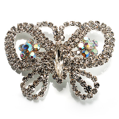 Unique Swarovski Crystal Butterfly Brooch (Silver Tone) - main view