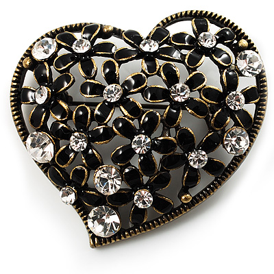 Vintage Crystal Heart Brooch (Bronze Tone)