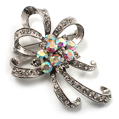 Crystal Bow Corsage Brooch (Silver Tone) - main view