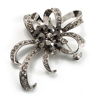 Crystal Bow Corsage Brooch (Silver Tone)
