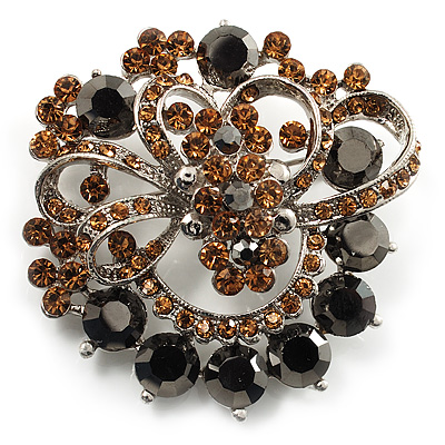 Amber Coloured & Jet-Black Diamante Corsage Brooch (Silver Tone)