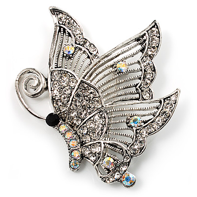 Crystal Filigree Butterfly Brooch (Silver Tone)