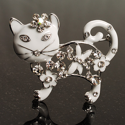Snow White Crystal Enamel Cat Brooch