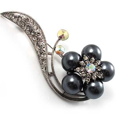 Oversized Stunning Flower Imitation Pearl Crystal Pin Brooch (Silver&Black) - main view