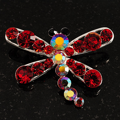 Small Red Dragonfly Brooch (Silver Tone)