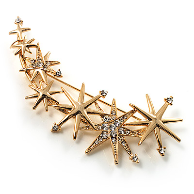 Crystal 'Star Rain' Brooch (Gold Tone)