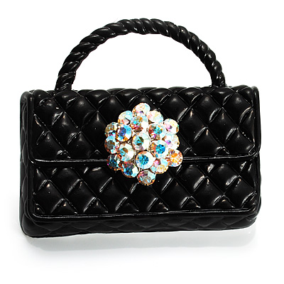 Stylish Crystal Bag Brooch (Jet Black)