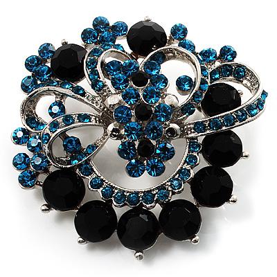 Azure&Jet-Black Diamante Corsage Brooch (Silver Tone)