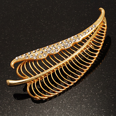 Oversized Crystal Leaf Brooch (Matte Gold Finish)