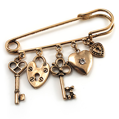 Key, Lock And Heart Locket Charm Safety Pin Brooch (Burn Gold Finish)