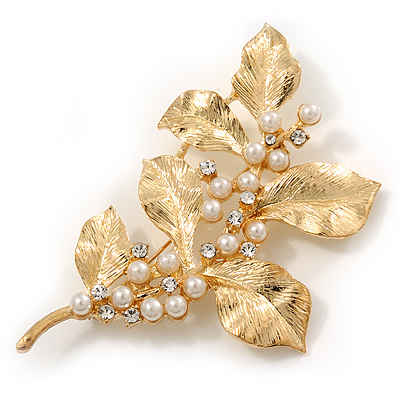 Gold Plated Crystal Simulated Pearl Floral Brooch/Pendant - main view