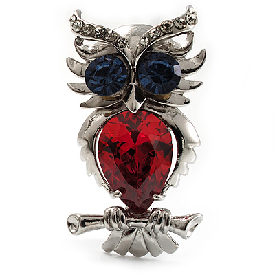 Silver Tone Stunning CZ Owl Brooch (Red & Blue) - main view