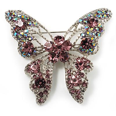 Dazzling Lilac Swarovski Crystal Butterfly Brooch (Silver Tone)