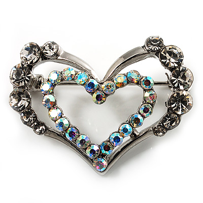Tiny Open Crystal 'Heart in Heart' Brooch (Silver Tone)