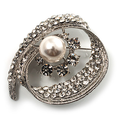 Asymmetrical Twirl Diamante Wedding Brooch (Silver & Clear)