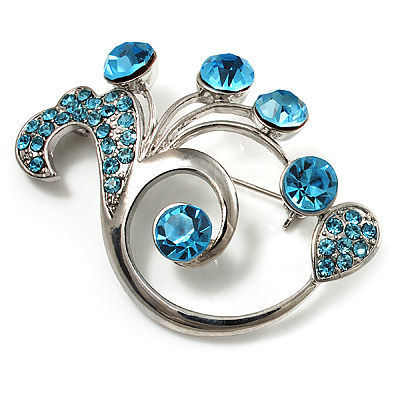 Fancy Sea Blue Crystal Brooch