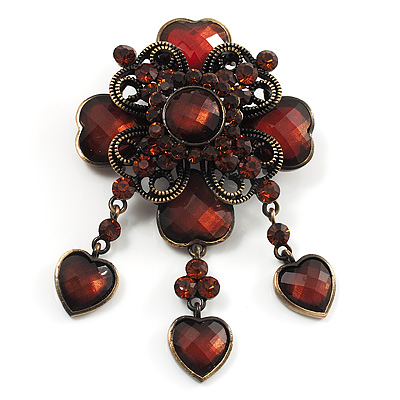 Vintage Amber Coloured Crystal Charm Brooch (Bronze Tone) - main view