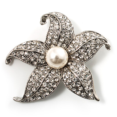 Silver Tone Sparkling Crystal Floral Brooch - main view