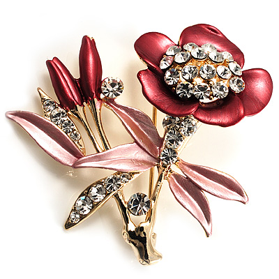 Red Pink Enamel Crystal Bunch Of Flowers Brooch (Gold Tone)