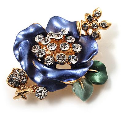 Purple Enamel Crystal Flower Brooch (Gold Tone) - main view