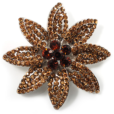 Citrine Swarovski Crystal Bridal Corsage Brooch (Silver Tone)