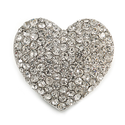 Clear Diamante Heart Brooch (Silver Tone) - 35mm Wide