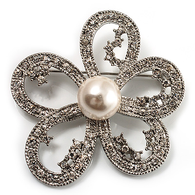 Bridal Diamante Simulated Pearl Daisy Brooch (Silver Tone)