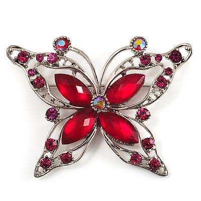 Magenta Diamante Butterfly Brooch (Silver Tone)