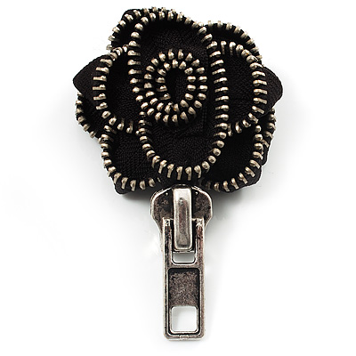 Black Fabric Rose Zipper Brooch (Antique Silver)