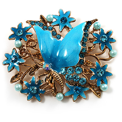 Aqua Blue Enamel Crystal Flower & Butterfly Brooch (Gold Tone)