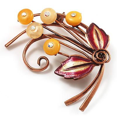Vintage Floral Brooch (Bronze Tone)
