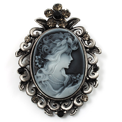 Vintage Crystal Cameo Brooch (Antique Silver Tone)