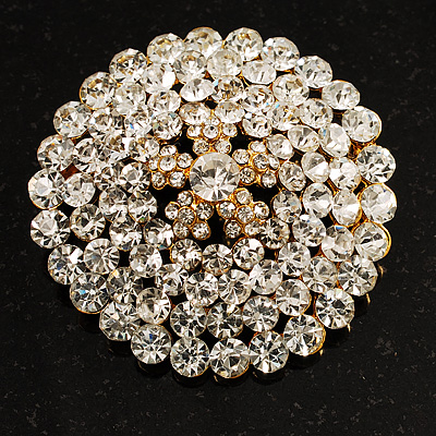 Clear Crystal Corsage Brooch (Gold Tone)