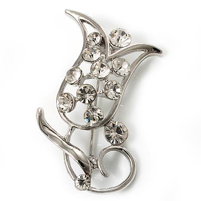 Stunning Crystal Tulip Brooch (Silver Tone)