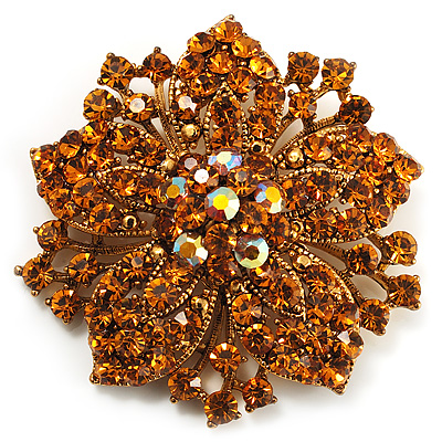 Victorian Corsage Flower Brooch (Gold & Amber Coloured) - main view