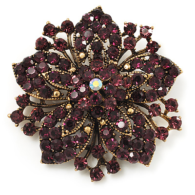 Victorian Corsage Flower Brooch (Gold & Purple)