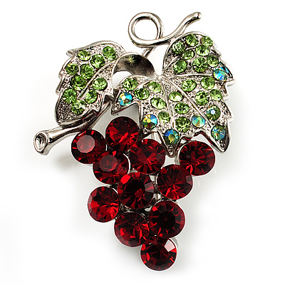Swarovski Crystal Bunch Of Grapes Brooch (Burgundy Red & Light Green, Silver Tone)